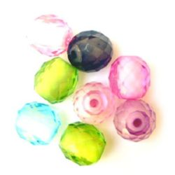 Transparent Acrylic Cylinder Bead with white base, multiwall 15x13 mm MIX - 50 grams
