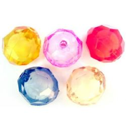 Transparent Acrylic Bead with white base soccer ball 30 mm hole 2 mm mix - 45 grams - 3 pieces