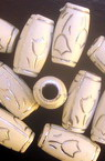 Opaque Acrylic Beads Barrel with silver line, white 16x9mm, Hole 4mmm - 50g ~ 85pcs