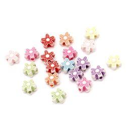 Floare mărgele 9x4 mm gaură 1,5 mm 5 frunze colorate -50 grame ~ 280 bucăți