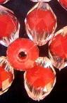 Margelă cu bază roșie ovală 13,5x10 mm gaură 2 mm transparentă multi-perete -50 grame ~ 70 bucăți