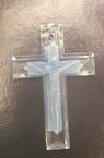 Pandantiv forma  cruce albastru 42x27 mm transparent -5 bucati