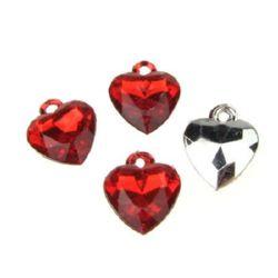 Inima pandantiv de cristal 15x11x3 mm roșu -20 buc