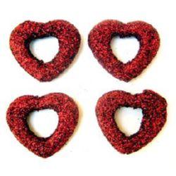 Χάντρα καρδιά χρυσόσκονη 28 mm κόκκινο -50 γραμμάρια -25 τεμάχια