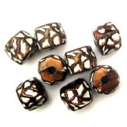 Antique acrylic barrel beads 13x16 mm brown hole 4 mm - 50 grams
