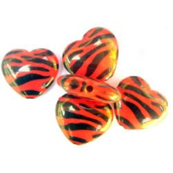 Two-color bead heart  26x23 mm red and black - 50 grams