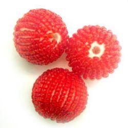 Bilă de 25 mm îmbrăcată cu margele roșii -10 bucăți