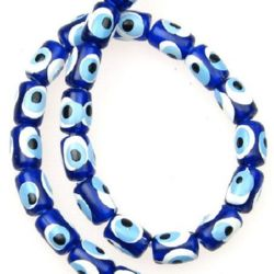 Evil eye, Oval, Beads, Plastic, Dark blue white  - 6x8mm - 50pcs