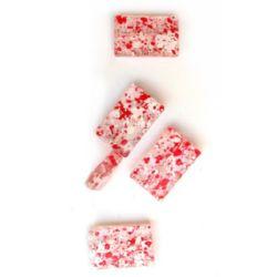 Мънисто кристал правоъгълник 25x16x5 мм напръскано бяло и червено -50 грама