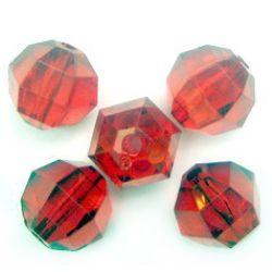Мънисто кристал топче 20 мм фасетирано червено -50 грама