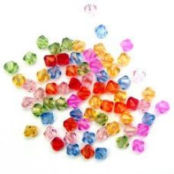 Bead crystal 5x5 mm hole 1 mm MIX -50 grams ~ 1000 pieces