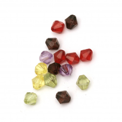 Crystal bead 8x8 mm hole 1 mm MIX -50 grams ~ 240 pieces