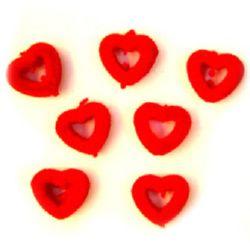 Сърце с дупка мъх 15 мм червено -50 грама