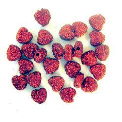Χάντρα καρδιά χρυσόσκονη 8 mm κόκκινο -50 γραμμάρια