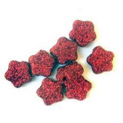 Χάντρα λουλούδια χρυσόσκονη 13 mm κόκκινο -50 γραμμάρια