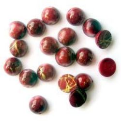 Plastic gold thread bead hemisphere 10 mm red - 50 grams