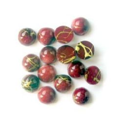Plastic gold thread bead hemisphere 12 mm red - 50 grams