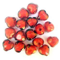 Мънисто с бяла основа сърце 14x13x10 мм дупка 2 мм червено -50 грама ~ 60 броя