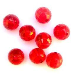Margele forma bilă de cristal  14mm Gaură 2mm fațetată Roșu -50g