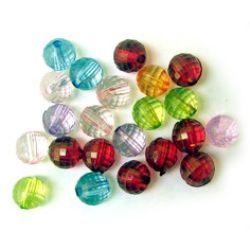 Мънисто кристал топче 8 мм дупка 1.5 мм фасетирано микс -50 грама