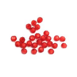 Margele bile fotbal albă 6x6 mm gaură 1,5 mm roșu -50 grame ± 350 bucăți