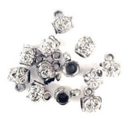 Cilindru metalic margele cu inel 11x13 mm orificiu 4 mm argintiu -50 grame ~ 90 abucăți