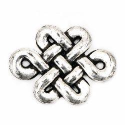 Element de legătură metalizat 36x25 mm culoare argintiu -50 grame ~ 24 bucăți
