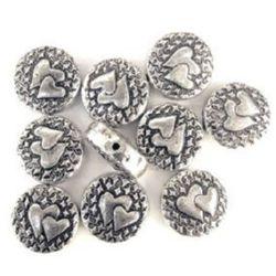 Кръг сърца метализе сребро 18 мм -50 грама