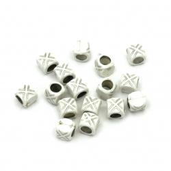 Bead silver thread barrel 7.5x8 mm hole 5 mm white - 50 grams ~ 210 pieces