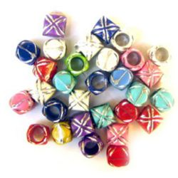 Opaque Acrylic Beads Barrel with silver line 7.5x8 mm hole 5 mm MIX - 50 grams ~ 210 pieces