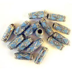 Мънисто сребърна нишка цилиндър 15x6 мм дупка 2 мм син -50 гр ~180 броя