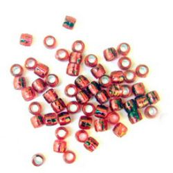 Transparent acrylic  Cylinder barrel Beads, with silver line 4x2.5 mm hole, red - 50 grams