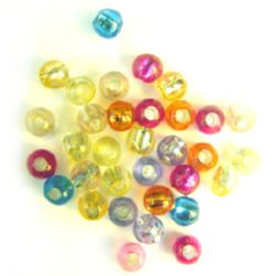 Transparent Acrylic Beads with silver line 8x3.5 mm hole colored MIX - 50 grams