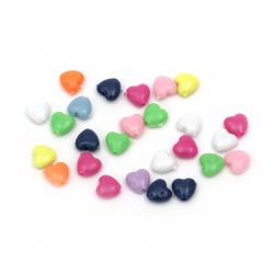 Perlă inimă solidă 8x9 mm gaură 1,5 mm culoare -50 grame ~ 340 bucăți