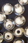 Transparent Acrylic Ball Bead with white base 8 mm hole 2 mm transparent - 50 grams ~ 180 pieces