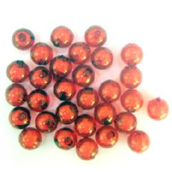 Transparent Acrylic Ball Bead with white basel 8 mm hole 2 mm red - 50 grams ~ 180 pieces