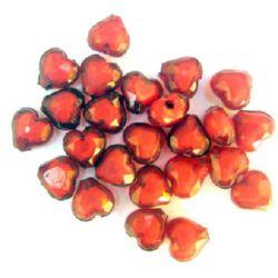 Мънисто с бяла основа сърце 11x10x6.5 мм дупка 2 мм червено -50 грама ~ 110 броя