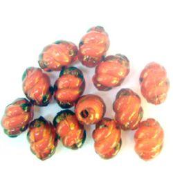 Margele  spirala cilindrului de bază albă 15x11 mm gaură 2 mm roșu -50 grame ~ 60 bucăți