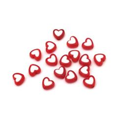 Χάντρα με λευκή βασή καρδιά 8x9x4 mm τρύπα 1,5 mm κόκκινο -20 γραμμάρια ± 110 τεμάχια