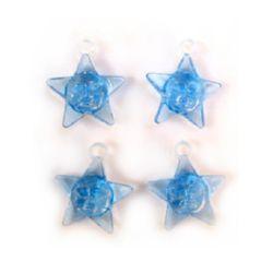 Κρεμαστό απομίμηση κρύσταλλο αστέρι 23 mm μπλε -50 γραμμάρια