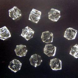 Χάντρα απομίμηση κρύσταλλο 7,5x7,5 mm τρύπα 1 mm λευκό -50 γραμμάρια ~ 180 τεμάχια
