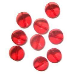 Margele perle monedă de cristal 12x2 mm roșu -50 grame
