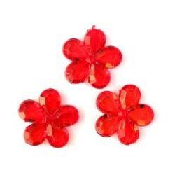 Χάντρα απομίμηση κρύσταλλο Λουλούδι 20x5mm Τρύπα 1mm Κόκκινο -50 γραμμάρια ~ 35 τεμάχια