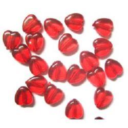Mărgele cristal inimă 8x8x4 mm gaură 1 mm roșu -50 grame ~ 270 bucăți