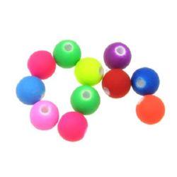 Мънисто пастел топче 6 мм дупка 1.5 мм МИКС електрик -20 грама ~ 160 броя