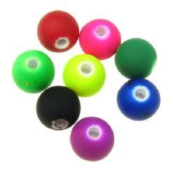 Мънисто пастел топче 8 мм дупка 1.5 мм МИКС електрик -20 грама ~ 60 броя