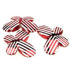 Pandativ fluture 29,3x21x6 mm raze metalice gaură albă roșie 2,7 mm -10 bucăți