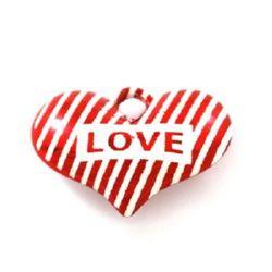 Inima pandantiv 27x39x12 mm gaură 6 mm alb metalic roșu -3 bucăți
