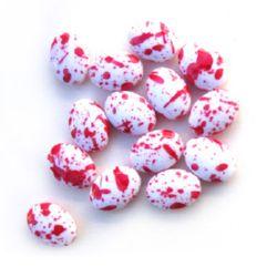 Цилиндър сплескан бял с боя червена 20x15x8 мм -50 грама