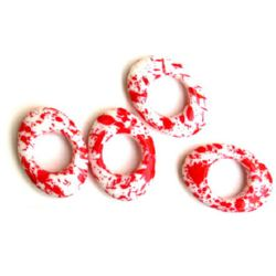 Acrylic oval with a hole white with red paint 34x6 mm - 50 grams